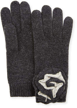Portolano Knit Floral Applique Gloves