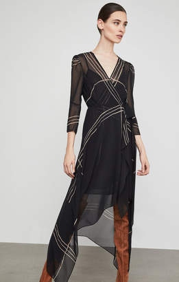 BCBGMAXAZRIA Samantha Wrap-Front Handkerchief Dress