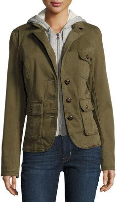 Raison D'etre Cotton Blazer w/ Removable Dickey, Olive $145 thestylecure.com