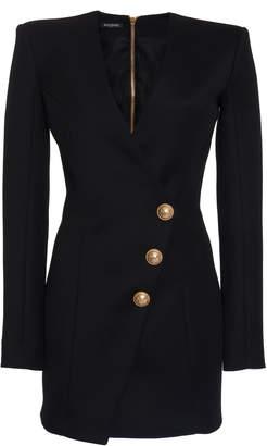 Balmain Structured Accent-Button Cotton Wrap Dress