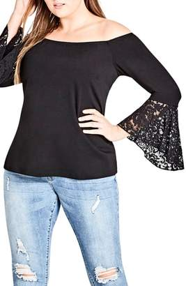 City Chic Lace Bell Sleeve Off the Shoulder Top