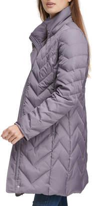 Andrew Marc Chevron Down-Fill Faux-Fur Hooded Coat