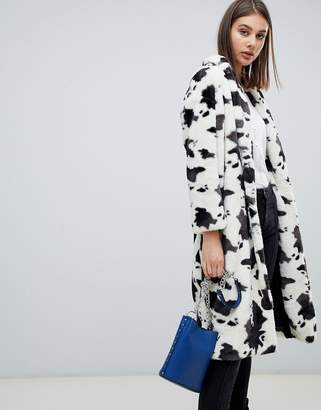 Religion serpent cow print faux fur coat