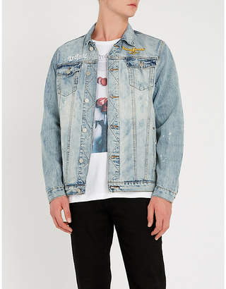 PROFOUND AESTHETIC Floral-patch distressed denim jacket