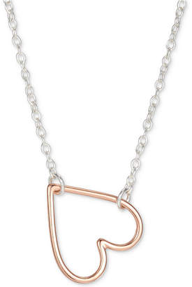 """Unwritten Two-Tone Heart 18"""" Pendant Necklace in Sterling Silver & Rose Gold-Flash"""