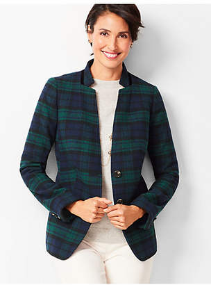 Talbots Black Watch Velvet-Trim Blazer