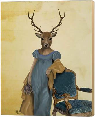 Deer In Blue Dress By Fab Funky Canvas Art