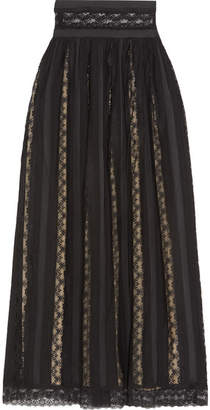 Pierre Balmain Lace And Chiffon Maxi Skirt - Black