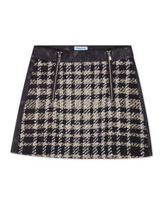 Mayoral Girl's Check Tweed & Faux Leather Mini Skirt, Size 8-16
