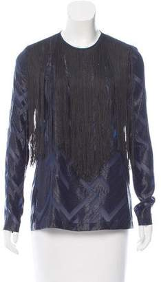 Yigal Azrouel Fringe-Accented Chevron Top