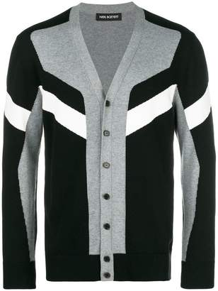 Neil Barrett colour block striped cardigan