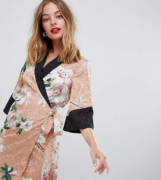 Asos DESIGN Petite kimono wrap mini dress in floral jacquard print