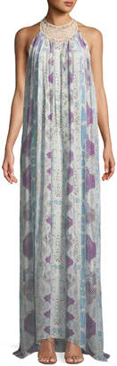 Roberto Cavalli Mixed-Print Sleeveless Silk Maxi Dress