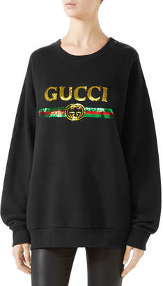 Gucci Oversize Felted Cotton Sweatshirt w/ Sequin Logo & Panther
