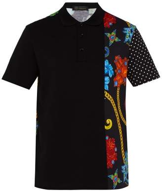 Versace Gioielleria Jetes Print Cotton Pique Polo Shirt - Mens - Black