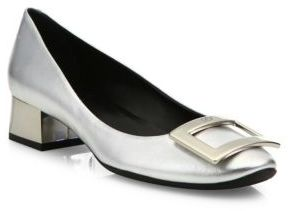 Roger Vivier Belle De Nuit Metallic Leather Pumps $675 thestylecure.com