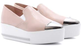 Miu Miu Leather platform loafers