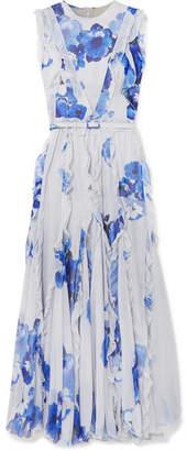 Costarellos Ruffled Pleated Floral-print Chiffon Maxi Dress - Sky blue