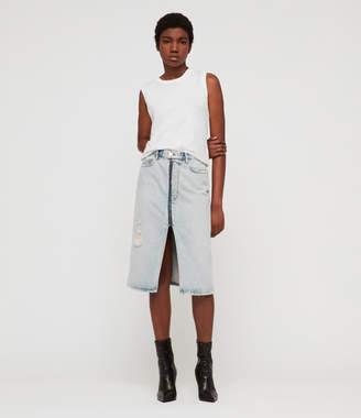 AllSaints Mabel Long Denim Skirt
