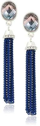 Anne Klein Silver-Tone Blue and Purple Tassel Drop Earrings