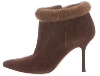 Oscar de la Renta Mink-Accented Suede Boots