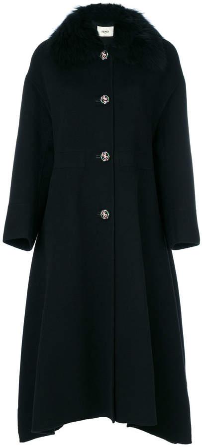 Fendi fur trimmed oversize coat