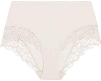 Hanro Lillian Lace-trimmed Ribbed Wool And Silk-blend Briefs - Stone