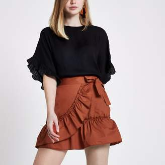 River Island Womens Rust Orange poplin frill wrap mini skirt
