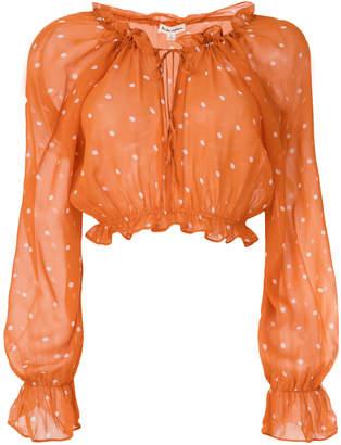 For Love & Lemons cropped polka-dot blouse