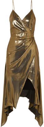 Haney - Alaina Asymmetric Lamé Midi Dress - Bronze