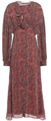 IRO Elea Ruffle-trimmed Printed Gauze Midi Dress