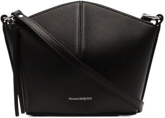 Alexander McQueen black logo embossed mini leather bucket bag