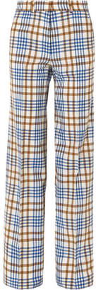 Victoria Beckham Checked Wool And Mohair-blend Wide-leg Pants - Blue