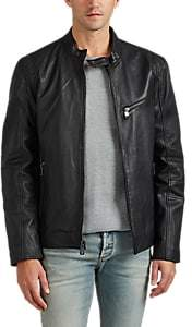 Barneys New York MEN'S LEATHER MOTO JACKET - BLACK SIZE M