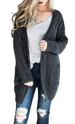 Rofala Women's Long Sleeve Open Front Chunky Cable Knit Warm Pocket Sweater Cardigans US 12