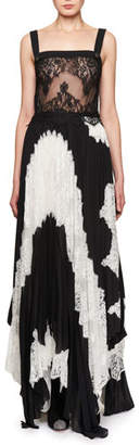 Givenchy Sleeveless Pleated Bicolor Lace Gown