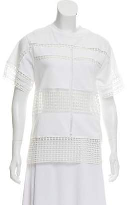 Chloé Crochet Short-Sleeve Blouse