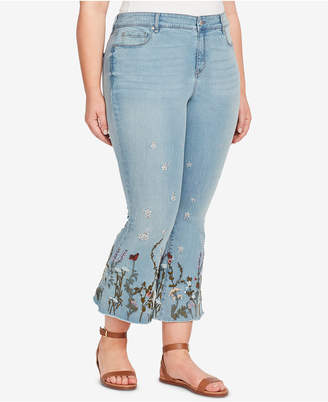 William Rast Plus Size Embroidered Cropped Flared Jeans