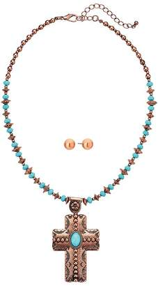 M&F Western Copper Turquoise Beaded Cross Necklace/Earrings Set Jewelry Sets