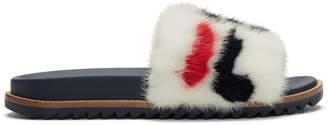 Fendi White Mania Fur Slides
