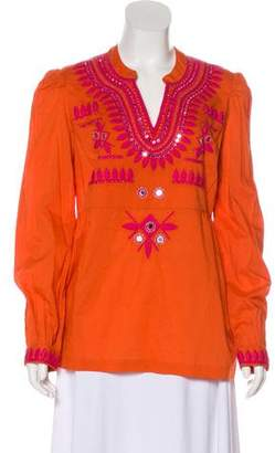 Tory Burch Embroidered Long Sleeve Tunic w/ Tags