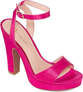 Nicole Miller Nicole By Womens Lindy Pumps Buckle Open Toe Block Heel