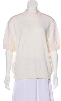 St. John Short Sleeve Mock Neck Top