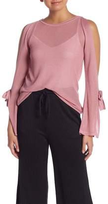 Kensie Split Sleeve Tie Cold Shoulder Sweater