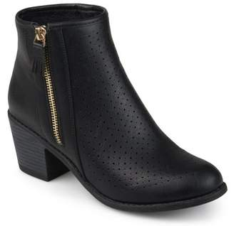 Brinley Co. Women's Faux Leather Faux Wood Stacked Heel Laser-cut Booties