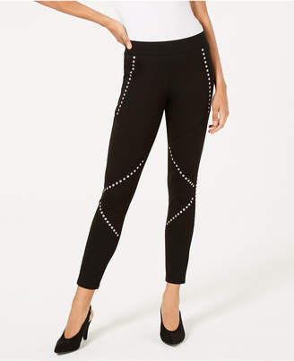 Bar III Mid-Rise Grommet-Detail Leggings