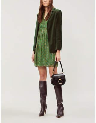 BA&SH Green Willow Metallic Georgette Mini Dress