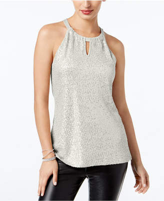 INC International Concepts I.n.c. Sequinned Halter Top