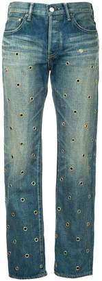 Tu Es Mon Trésor eyelet dot jeans short length