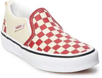Vans Asher Boys' Checker Slip On Skate Shoes